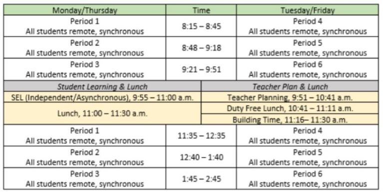 Stewart students will have a new schedule when 2nd semester begins Feb. 8. The change is to prepare for the possibility that we might return to some in-person learning.