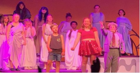 The author, back row right, in the cast of the Tacoma Musical Playhouse production of Xanadu 2021.